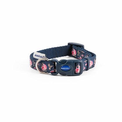 Ancol Fashion Collar Navy Rose Adjustable 20-30cm