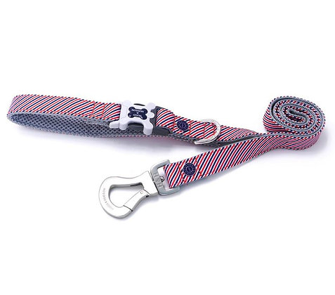 Hugo & Hudson Red, White and Navy Stripe Leash XS/S or M/L