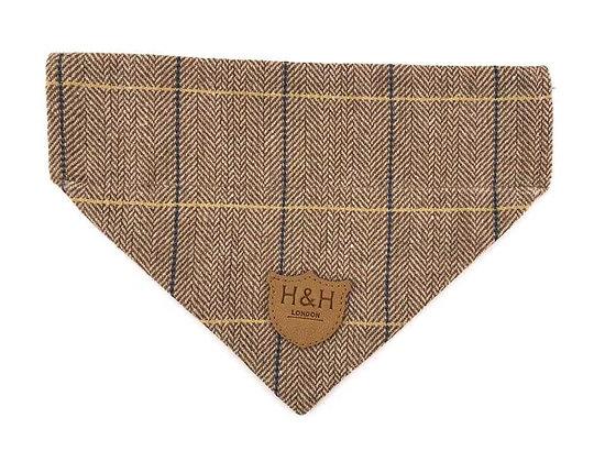 Hugo & Hudson Caramel Check Herringbone Tweed Bandana XS-L