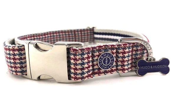 Hugo & Hudson Red and Blue Houndstooth Collar XS-L