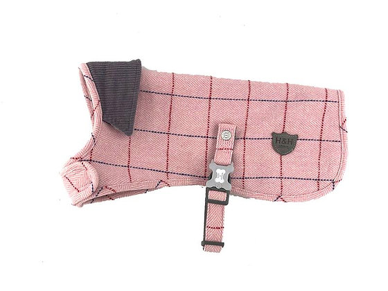 Hugo & Hudson Pink Check Herringbone Tweed Jacket XS-XL