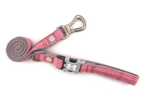Hugo & Hudson Pink Check Tweed Leash XS/S or M/L