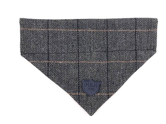 Hugo & Hudson Grey Check Tweed Bandana XS-L