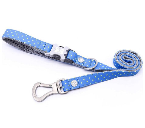 Hugo & Hudson Blue Green Polka Dot Leash XS/S or M/L