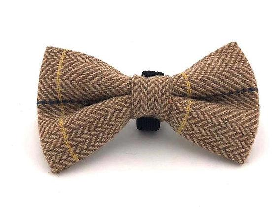 Hugo & Hudson Caramel Check Herringbone Bow Tie