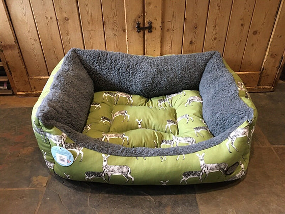 "Snug & Cosy 36"" - 92cm Large Dog Bed. Sage Deer."