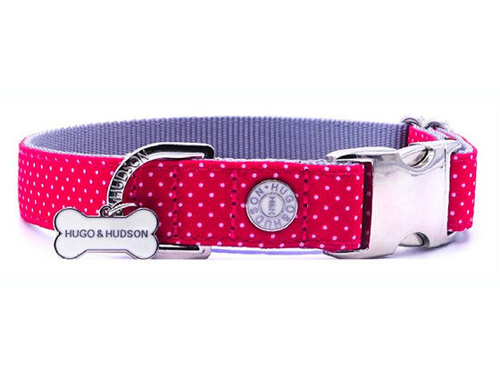 Hugo & Hudson Fuchsia Pink Polka Dot Collar XS-L