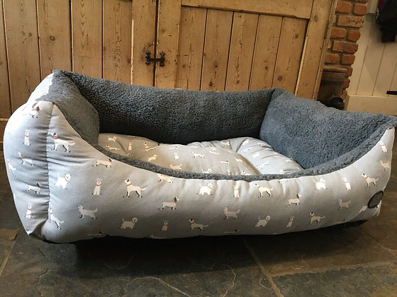 "Snug & Cosy 42"" - 107cm Large Dog Bed. Grey dogs"