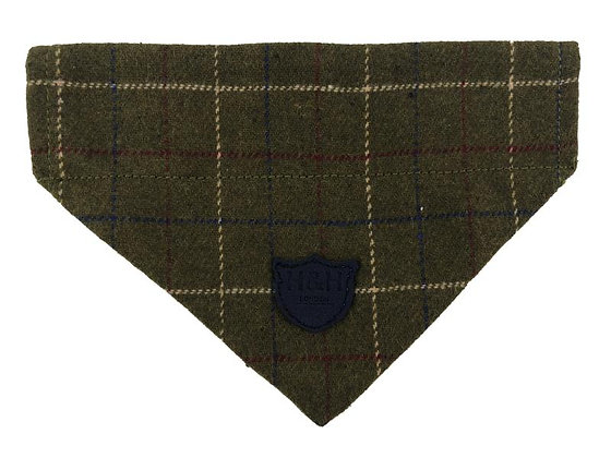 Hugo & Hudson Dark Green Check Tweed Bandana XS-L