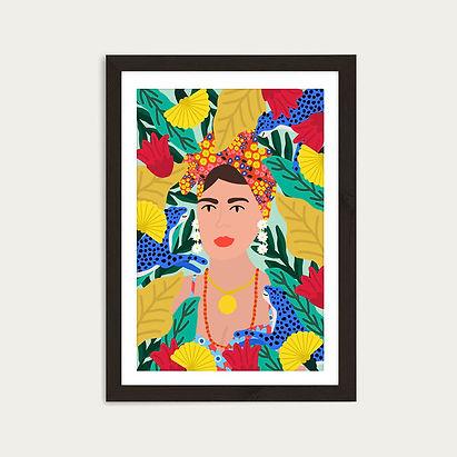 Colorful_Girl_Art_Print_Black_Frame_1.jp