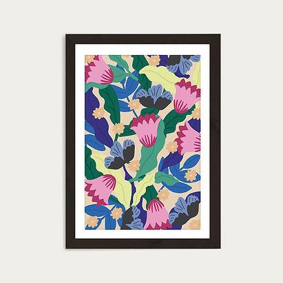 Jungle_Leopard_Floral_Art_Print_Black_Fr