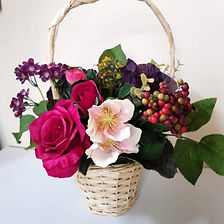 Basket of Silk Flowers Winter Berry Mix