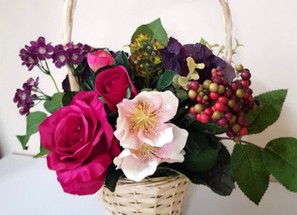 Silk Flower Arrangement Very Berry Basket
