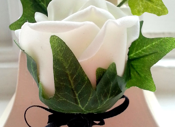 Artificial Rose Buttonhole with Ivy