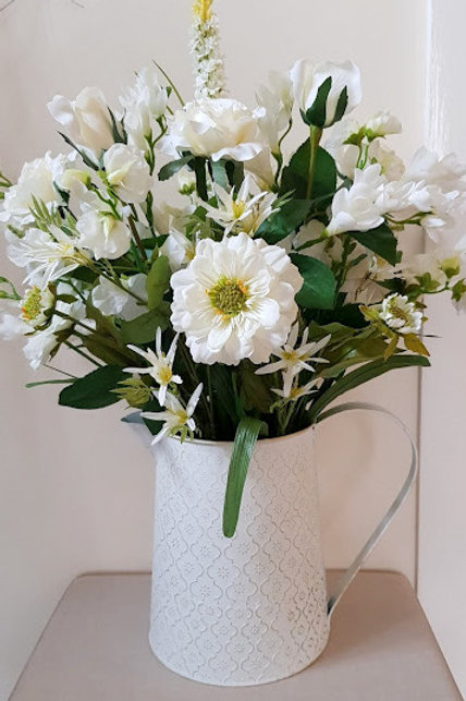WHITE/IVORY SILK FLOWERS  IN GOLD WASH METAL JUG