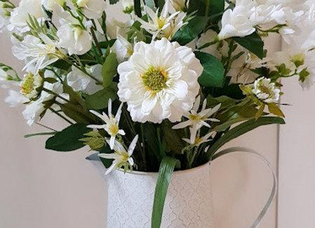 WHITE/IVORY SILK FLOWERS  IN GOLD WASH METAL JUG