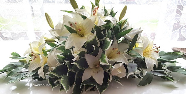 White Silk Lily Top Table Arrangement
