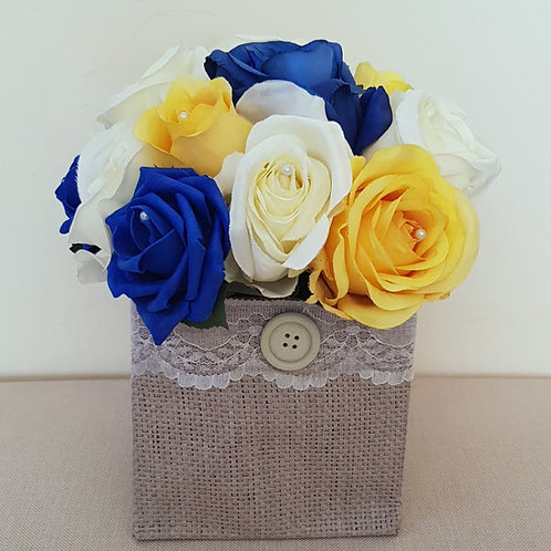 ARTIFICIAL ROSES JUTE BAG YELLOW BLUE AND IVORY