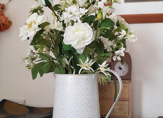 Silk Flower Arrangement  Mixed in Gold Wash Jug