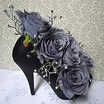 Silk Flower Arrangement Grey Rose Black Shoe.jpg