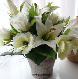 Silk Flowers Arrangement for Grave or Memorial