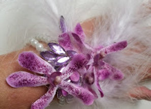 ARTIFICIAL FLOWER WRIST CORSAGE ORCHID AND FEATHER