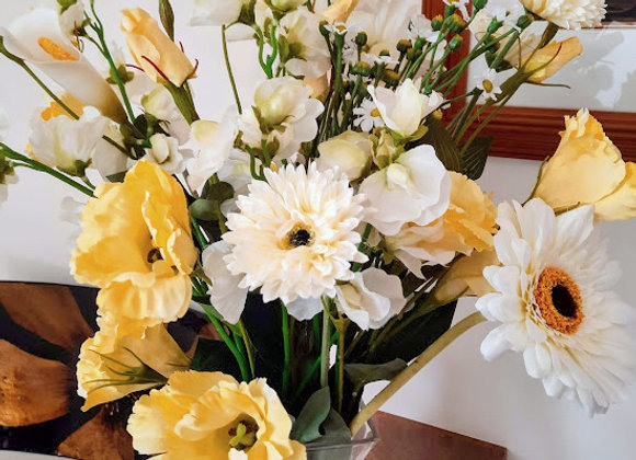 Silk Flower Bouquet Yellow and White