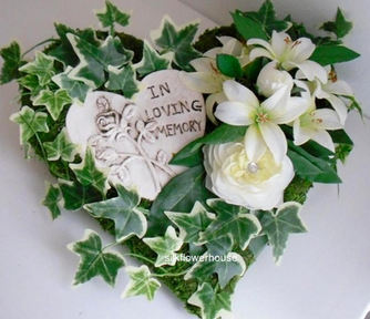 Silk Flowers Memorial Heart