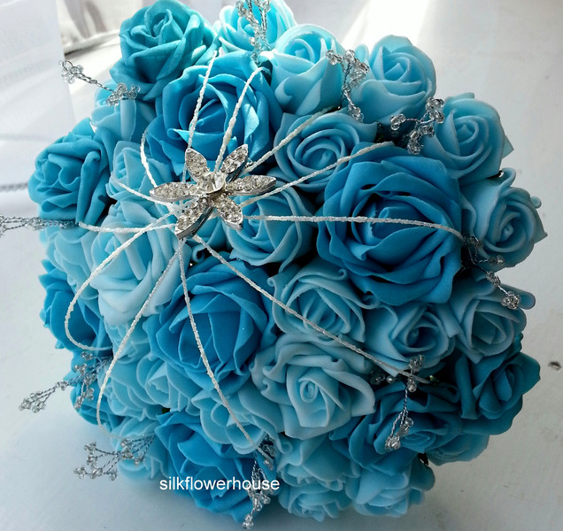 Foam bridal bouquet with brooch, shimmer strands and crystals in turquoise and aqua