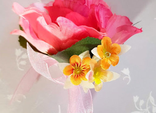 Silk Flower Buttonhole or Corsage Coral and Apricot