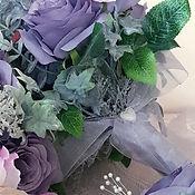 Silk Flower Bouquet Grey Rose Pink Sweet