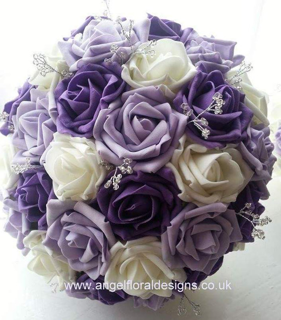 Foam Bouquet with crystal centres and sprays in purple, lilac and white