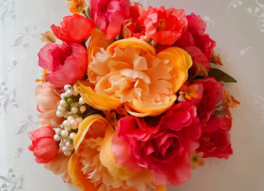 Silk Flower Bouquet - Bridesmaid or Flower Girl - Coral and Apricot