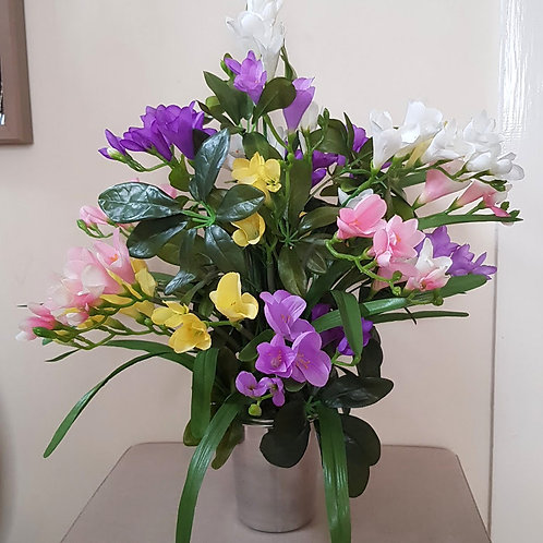 SILK FLOWERS GRAVE POT MIXED FREESIA