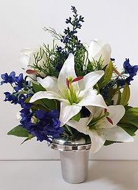Silk Flowers Grave Pot Delphinium and Li