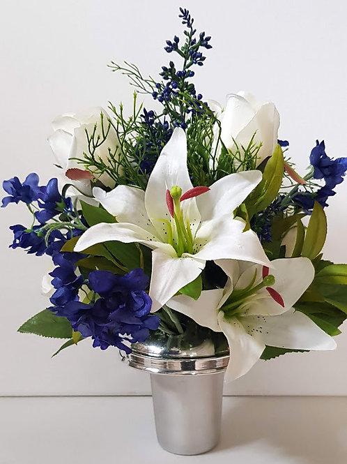 SILK FLOWER GRAVE POT DELPHINIUM AND LILY