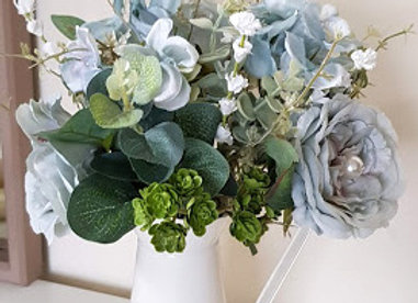 Silk Flower Arrangement Blue/Grey Silk Flowers in Cream Jug