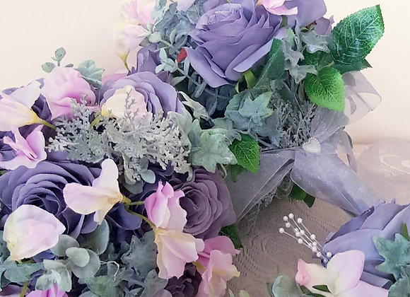 Silk Flower Bouquet - Rose and Sweetpea - Bridesmaid or Flower Girl
