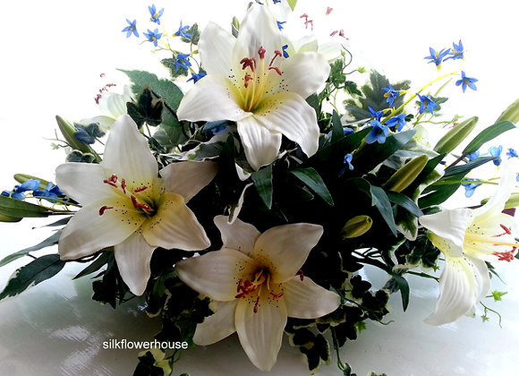 SILK LILY AND BLUEBELL ROUND CENTREPIECE