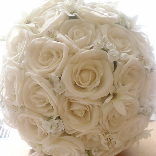 WEDDING FLOWERS COLLECTION - ROSE WITH SPRIGS OF BABIES BREATH AND STARFLOWERS