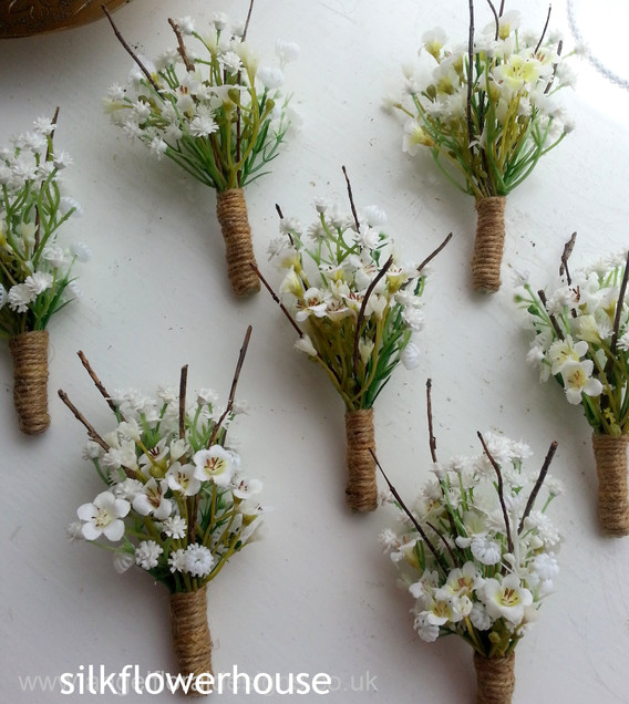 Rustic style artificial gypsophila buttonholes