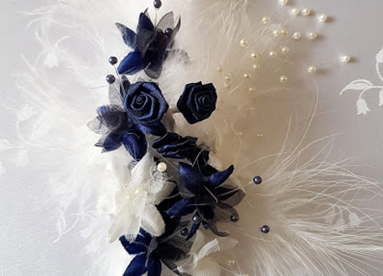 Artificial Flower and Feather Corsage Navy Blue and White