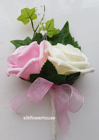 Double Rose Buttonhole with Pearl Centre