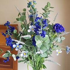 Artificial Flowers Bouquet Mixed Blue Silk Flowers .jpg