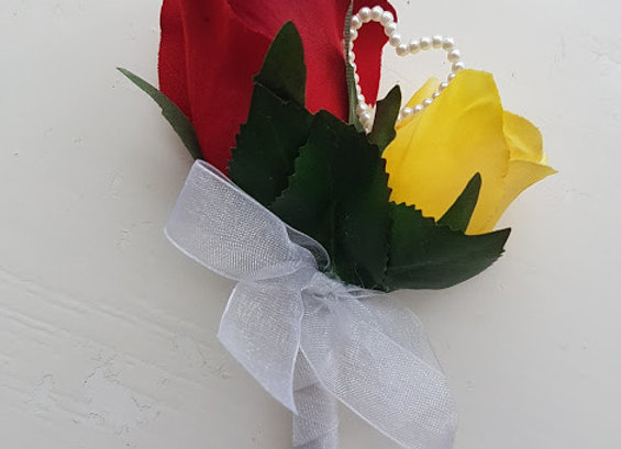 Silk Rosebud Buttonhole Yellow and Red with Pearl Heart
