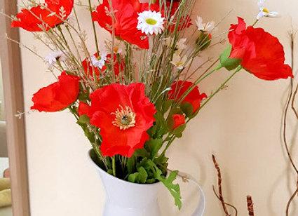Silk Flower Arrangement Poppy and Daisy Jug