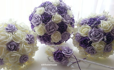 Purple, Lilac and White Wedding Bouquets