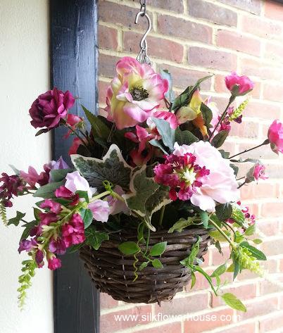 Pink Silk Flowers Hanging Basket