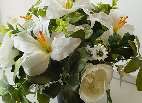Silk Flowers Grave Pot Lily Mix