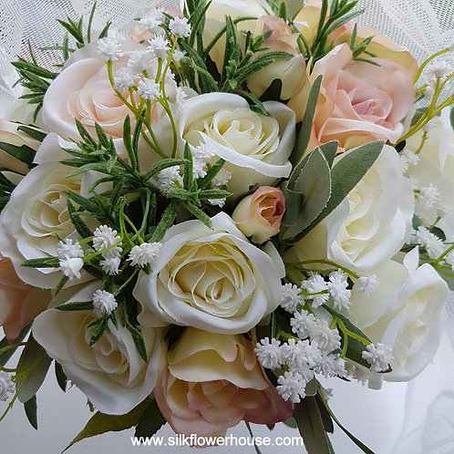 SILK FLOWERS ROSE AND GYPSOPHILA BRIDAL BOUQUET